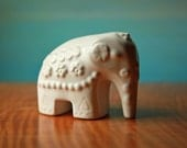 Rosa Ljung Elephant.  Vintage White Swedish Ceramic Animal