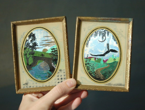 Vintage Pair of Foil Reverse Painted Glass Artwork.  Female Moon Sprite