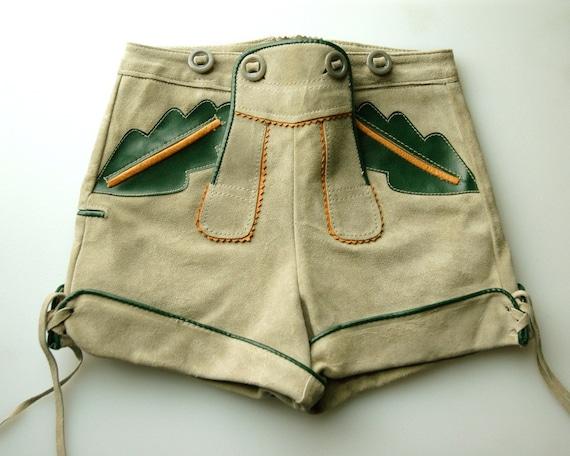 Vintage German Childs Lederhosen Folk Shorts.  Brown, Green and Grey