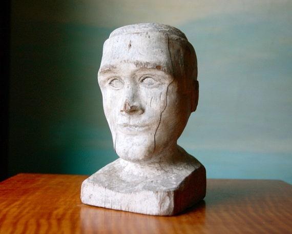 Antique Folk Art Wooden Bust.  Man's Face in White Paint