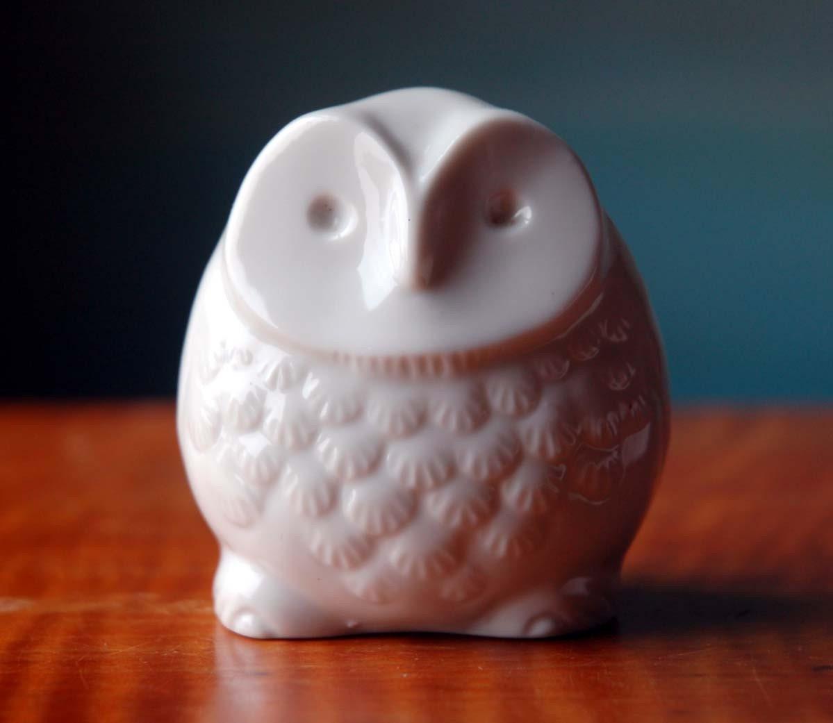 Owlivia Dehavilland White Ceramic Owl Figurine