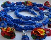 Special Knitted Red Blue Necklace