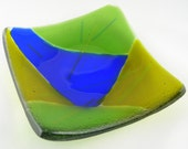Colorblock Square Designer Fused Glass Plate Dish in Cobalt Blue Green Chartreuse