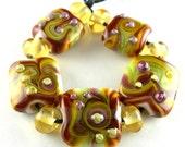Handmade Lampwork Glass Beads Set in Burgundy, Olive, Orange and Purple - Fall Flourish