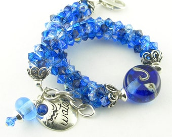 Beaded Bracelet with Lampwork Beads, Crystals, Sterling Silver in Sapphire Blue - Water