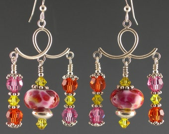 Pink Orange Yellow Lampwork Glass Earrings with Crystals and Sterling Silver