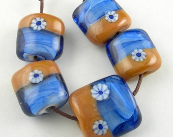 Handmade Lampwork Glass Beads Set in Brown and Blue - Ocean
