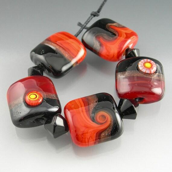 Handmade Lampwork Glass Beads Set in Black, Red, Orange, Goldstone - Date Night