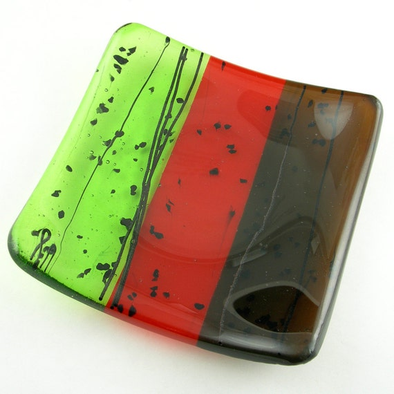 Colorful Fused Glass Plate Dish in Brown, Red, Green, Black