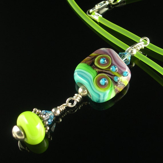 Lampwork Glass Pendant Necklace in Turquoise, Purple, Lime and Black