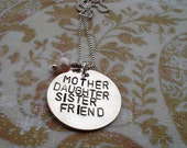 Hand Stamped Mother Roles Necklace