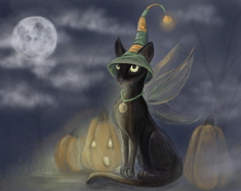 Halloween cat gothic pumpkin fantasy fairy art print