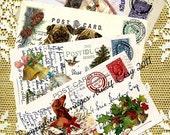 Instant CHRISTMAS DIGITAL Download Horses Cat Dog Dachshund Pugs Birds Printable Postcard Papercrafts  Card  Invitations