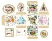 Instant download CHRISTMAS Digital BOX ANGELS Cherubs Tags Vintage Template Vintage Printable Birds Christmas Trees Holly Mistletoe Snow