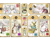 BUNNY RABBIT  DIGITAL Tags Printable Scrapbook All occasion Tags Birthday Party Cardmaking Journal
