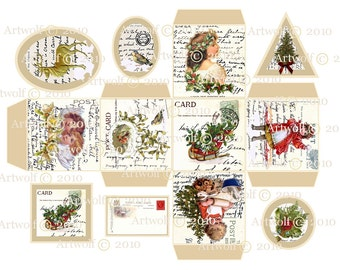 Instant Download CHRISTMAS Digital Box TAGS Vintage Template Vintage Printable Girls angels holly birds christmas tree