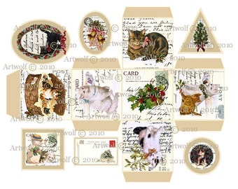 Instant Download CHRISTMAS Digital BOX CATs Tags Vintage Template Vintage Printable Kittens Tabby cat Tortoiseshell cat White Cat