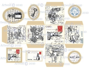 Instant DIGITAL DOWNLOAD  BOX  Alice Wonderland Printable White rabbit Cheshire Absolum Tags  Printable