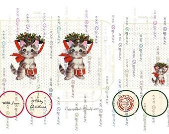 Instant Download CHRISTMAS DIGITAL Retro Christmas Cat Kitten Envelope Tag Printable  Papercrafts Scrapbooking Cardmaking Digital Christmas