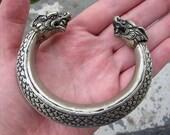 Silver Chinese dragon cuff bracelet