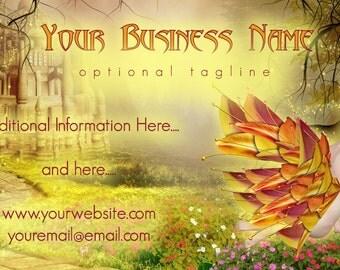 Fall Castle Fairy Premade Business Card