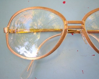 Vintage eyeglasses / GOLD brushed metal frame / retro mod euro Italian design