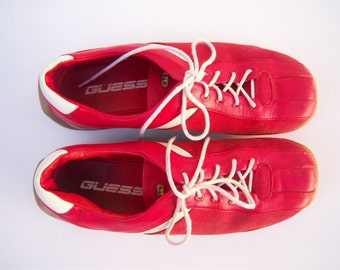 Vintage GUESS sneakers / red leather tennis shoes / 70s 80s shoes / womens 7 mens 5.5