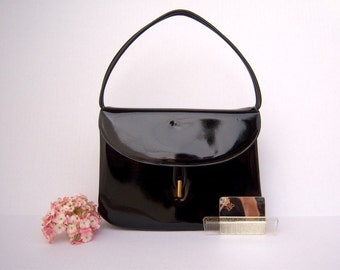 50s 60s handbag / black patent leather / mirror comb set by Lewis / wedding date night opera purse