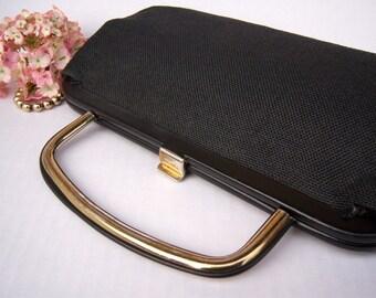 Antique black gold cloth handbag