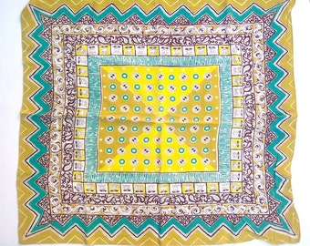 Vintage op art scarf / lime green aqua yellow polka dots chevron / silky rayon / LARGE