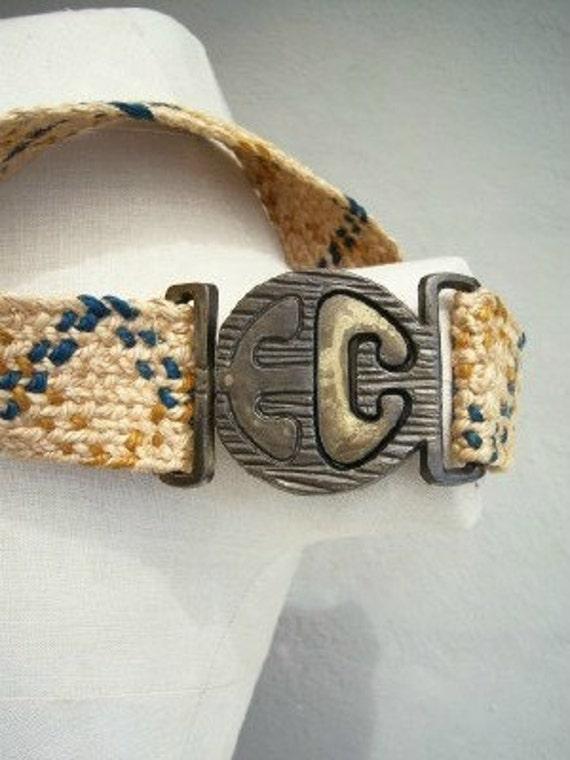 Vintage 60s hemp belt / Cast Iron Key Buckle / festival tribal hippie vegan belt / heavy metal art buckle