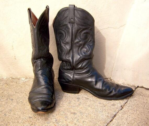 RESERVED for Srwillisillis / Vintage black cowboy boots / Johnny Cash black / size 12