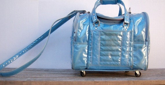 Vintage blue convertible roller bag /  wild vinyl carry all