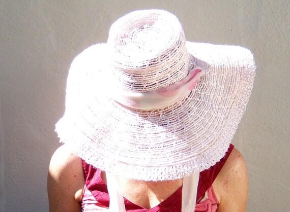 Vintage pink taffy floppy hat // boho chiffon tie