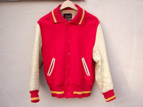RESERVED FOR STELIOS Vintage boyfriend varsity jacket / red wool leather