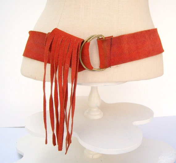 Orange suede fringe belt  / 60's hippie / Kim Craftsmen