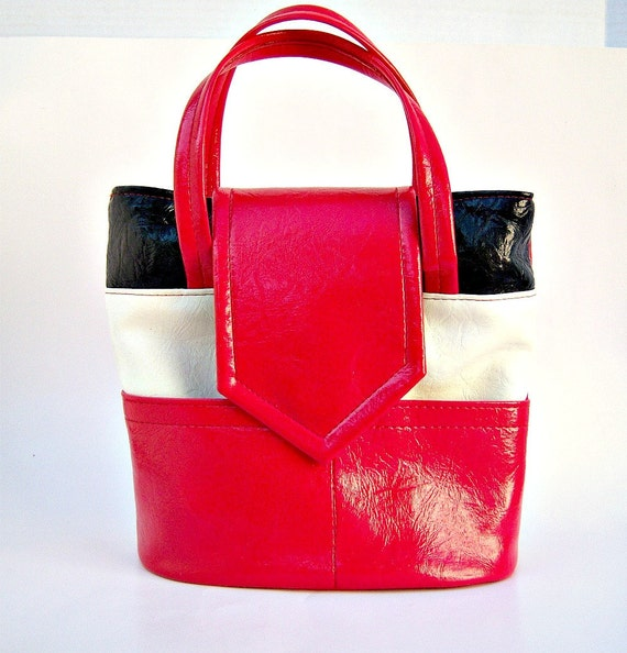 Vintage red white and blue handbag // Fourth of July purse