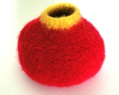 Felted Wool Bowl in  Red and Yellow