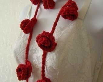 Easy Rose Lariat Scarf Crochet Pattern PDF - permission to sell what you  make