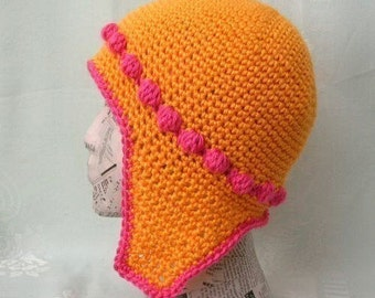 Bobble Cap with Ear Flaps Crochet Pattern PDF - permission to sell what you make