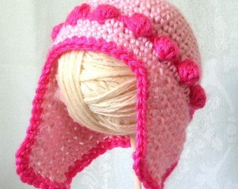 Crochet Pattern PDF for child's ear flap cap in 5 sizes from newborn to 4T