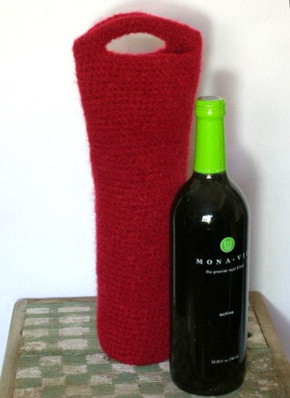 Felted Wine Caddy Tote Crochet Pattern PDF      EASY - permission to sell what you make