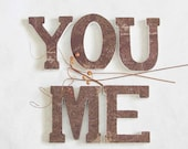 letters you and me wood brown shelf or wall decor
