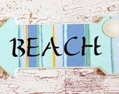 SALE 50% OFF wood arrow sign beach blue aqua orange green