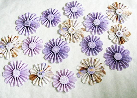 SALE 50% OFF paper flowers garland purple lavender special 16 pieces
