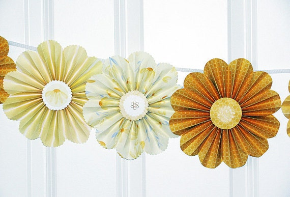 garland paper flowers yellow party decor wedding photo shoot