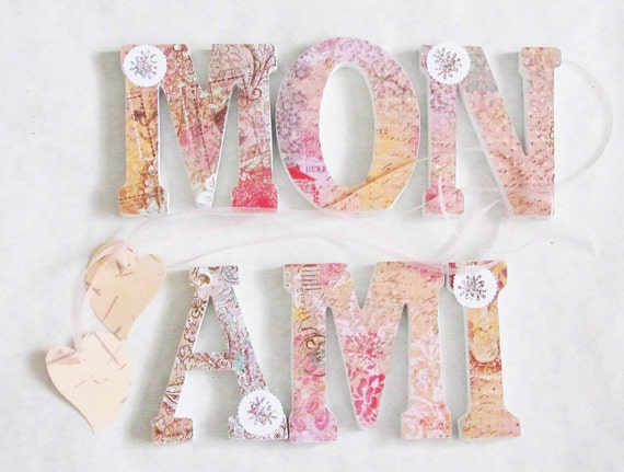 wood letters mon ami pink shabby chic boho hippie