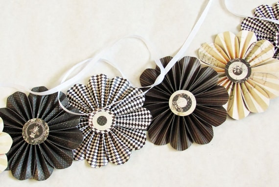 paper flowers garland brown cream wedding photo shoot home decor