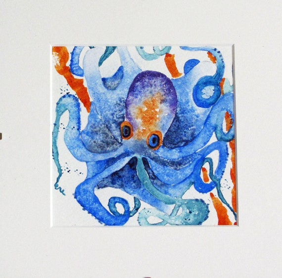 painting watercolor octopus blue purple  yellow mounted childs wall art