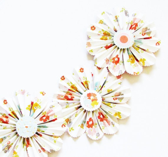 garland for party, paper flowers, flower garland, wedding decoration, nursery decor, photo shoot prop
